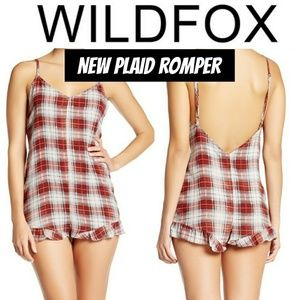 NEW WILDFOX Plaid Romper
